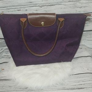 LongChamp large purple zip closure tote purse